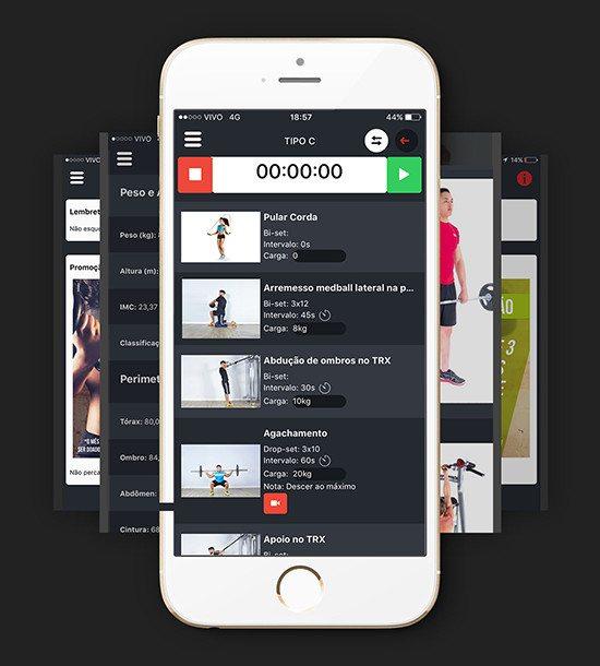 Demonstração de Como Passar treinos de musculação pelo aplicativo de academia e personal trainer