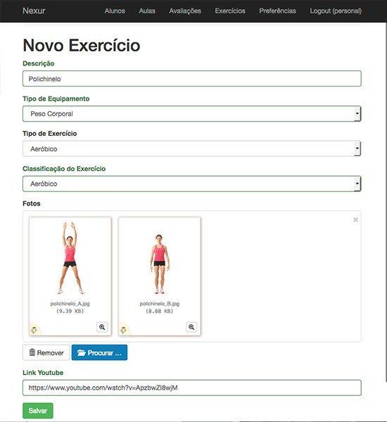 novo treino, aplicativo nexur, aplicativo para personal trainer