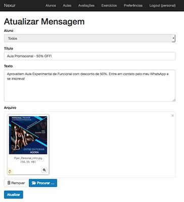 atualizar mensagem, aplicativo nexur, aplicativo para personal trainer