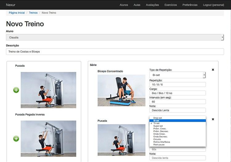 configurar novo treino, aplicativo nexur, aplicativo para personal trainer