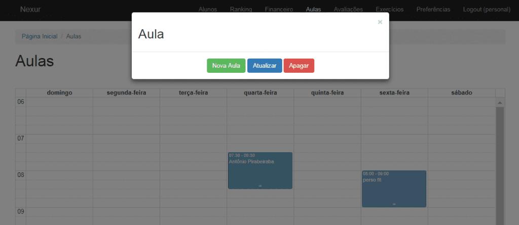 cadastrar nova aula, aplicativo nexur, aplicativo para personal trainer