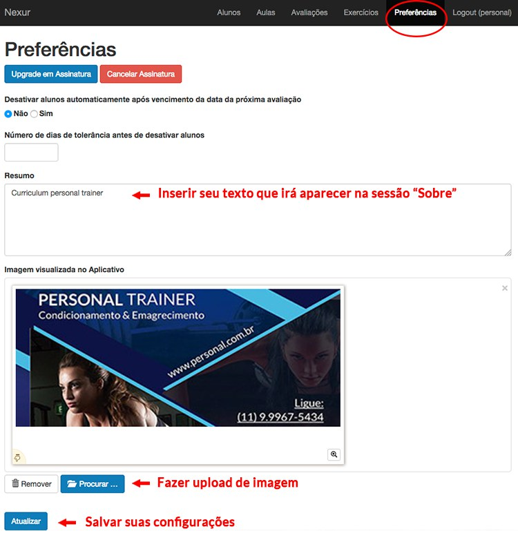 preferências, aplicativo nexur, aplicativo para personal trainer