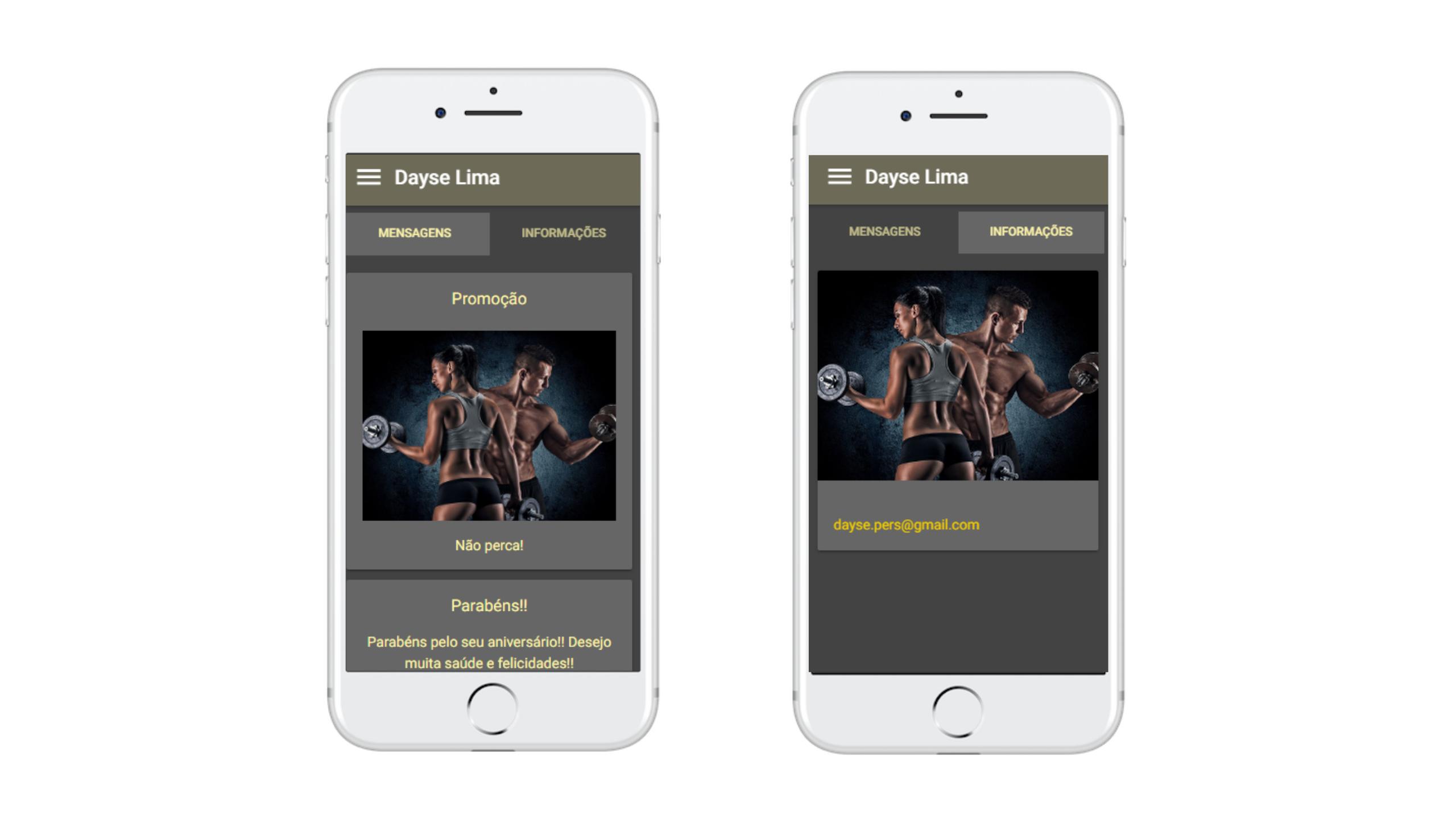 Painel de informações aplicativo Nexur