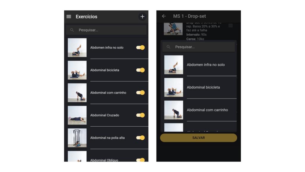 Busca no banco de exercícios simplificada no Nexur Trainer