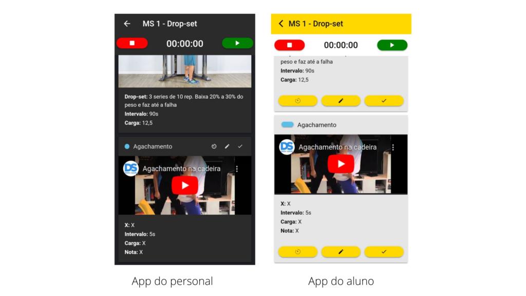 Exercícios personalizados com vídeo do youtube no app Nexur