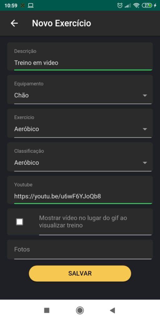 Como montar inserir link do vídeo pelo app