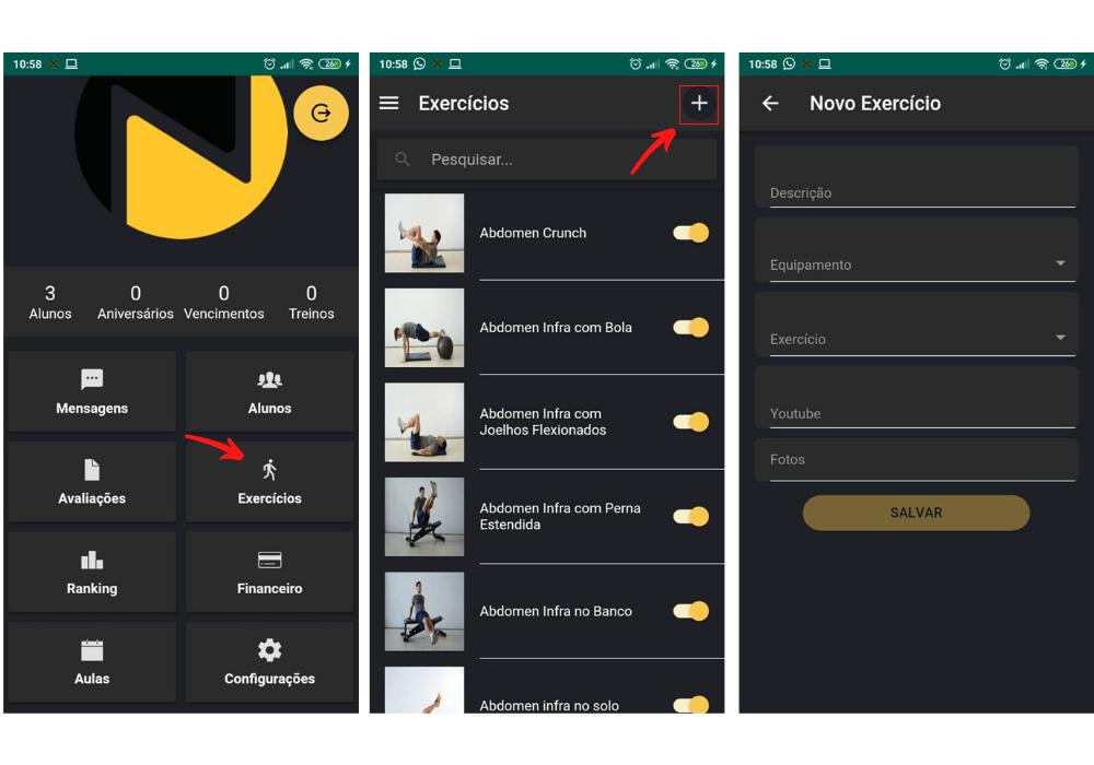 Como montar inserir exercício de vídeo pelo app