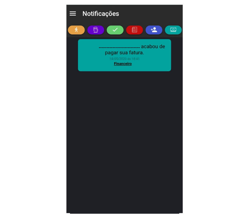 Notificação de fatura paga no app para personal trainer Nexur