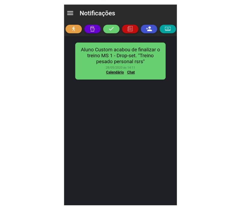 Notificação de treino realizado para o personal trainer no app Nexur