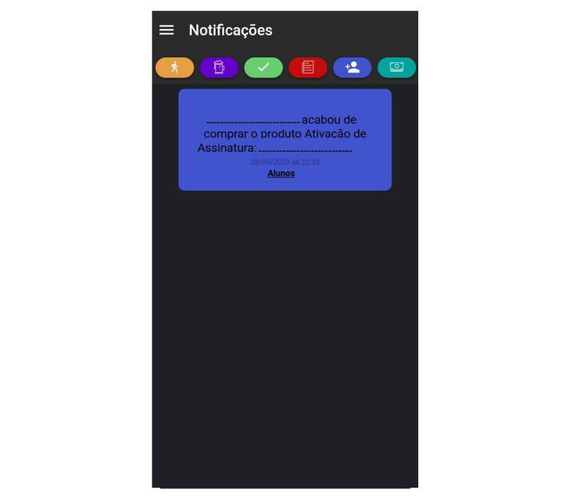 Notificação de compra de plano app Nexur