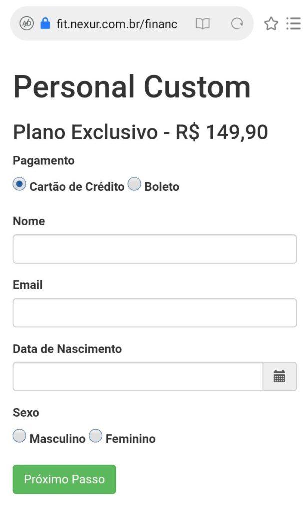 Financeiro Nexur - Checkout de pagamento personalizado