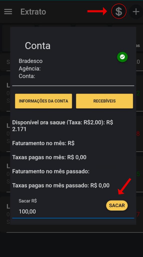 Como sacar os pagamentos recebidos no Financeiro do app Nexur